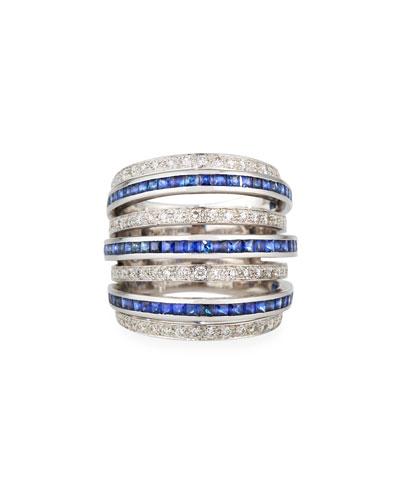 18k White Gold Blue Sapphire & Diamond 7-Row Ring  Size 7