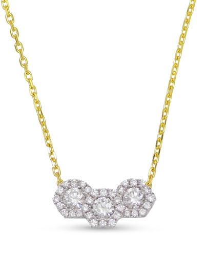 18k Firenze Hexagonal 3-Diamond Necklace