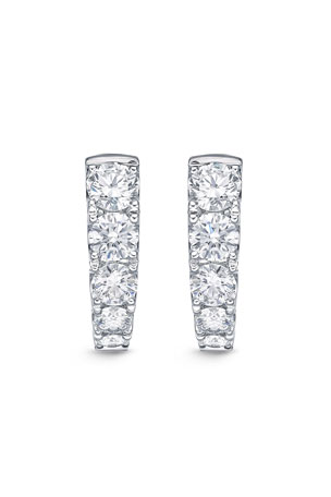 Memoire 18k White Gold Graduated Diamond Huggie Earrings