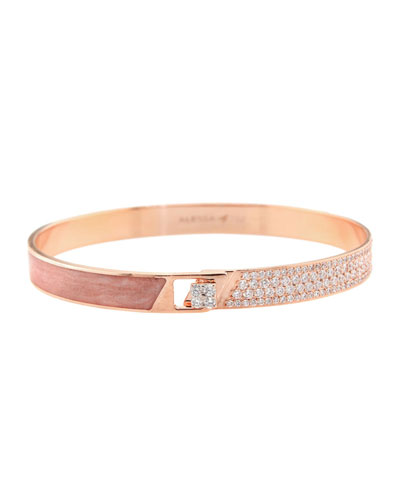 Spectrum 18k Rose Gold Painted Bangle w/ Diamonds  Pink  Size 17