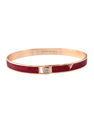 Spectrum 18k Rose Gold Paint & Diamond Bangle  Red  Size 18