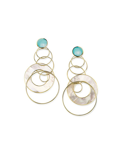 18K Polished Rock Candy Large Slice & Link Earrings in Turquoise and Mother-of-Pearl
