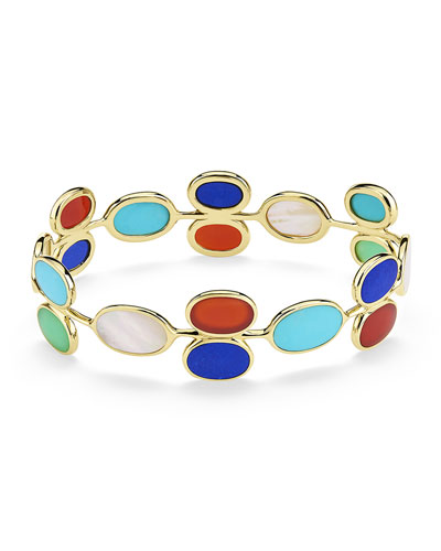 18K Polished Rock Candy All-Around Oval Stone Bangle in Riviera Sky
