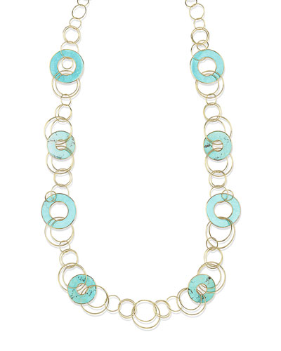 18K Polished Rock Candy Mixed-Link & Slice Necklace in Turquoise  44L