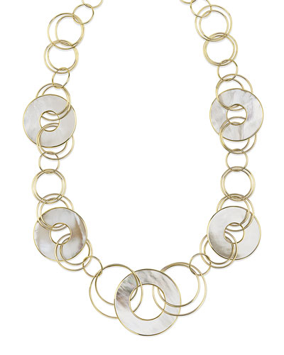 18K Polished Rock Candy Mixed-Link & Slice Necklace in Mother-of-Pearl