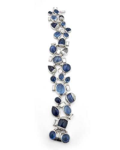 18k White Gold Sapphire & Diamond Bracelet