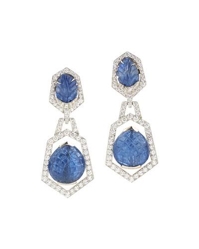 18k White Gold Diamond & Carved Blue Sapphire Clip Earrings