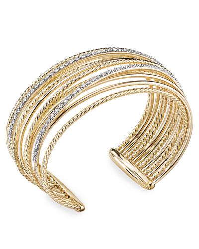 DY Crossover 18k Gold Cuff Bracelet w/ Diamonds  Size L