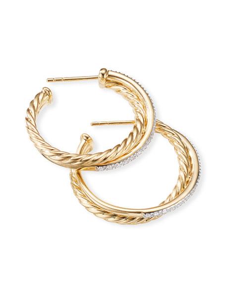 David Yurman DY Crossover Medium Gold Hoop Earrings w/ Diamonds