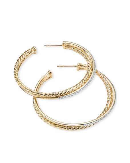 David Yurman DY Crossover Extra-Large Gold Hoop Earrings w/ Diamonds