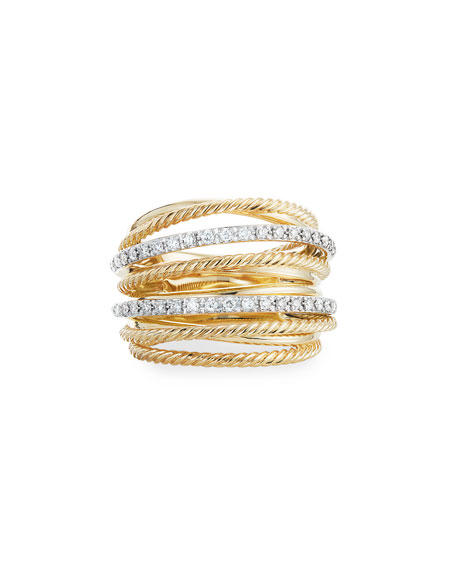Image 3 of 3: David Yurman DY Crossover Wide 18k Gold Ring w/ Diamonds, Size 9