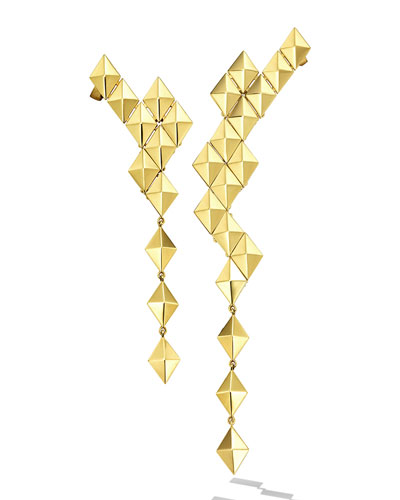 Python 18k Asymmetrical Long Drop Earrings