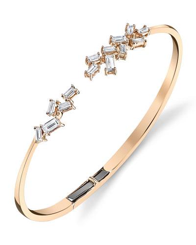 18k Rose Gold Diamond-Baguette Open Hinged Bangle