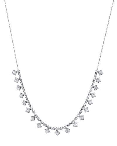 18k White Gold Diamond Pyramid Choker Necklace