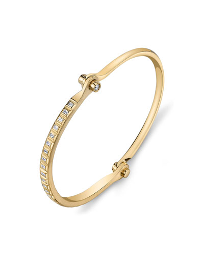 18k Gold Diamond Baguette Handcuff Bracelet