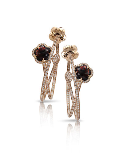 Bon Ton 18k Rose Gold Earrings with Champagne Diamonds