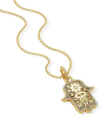20k Gold Small Hamsa Pendant w/ Diamonds & Enamel