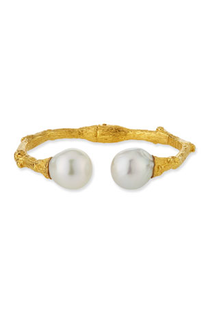 K Brunini Twig 18k Large Bangle w/ Pearls