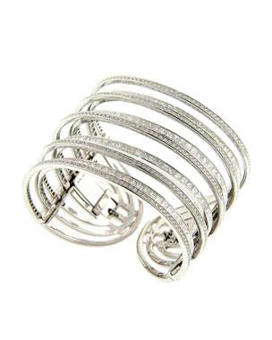 ea0c839b26fa Nini Collection 18k White Gold Princess Diamond Cuff