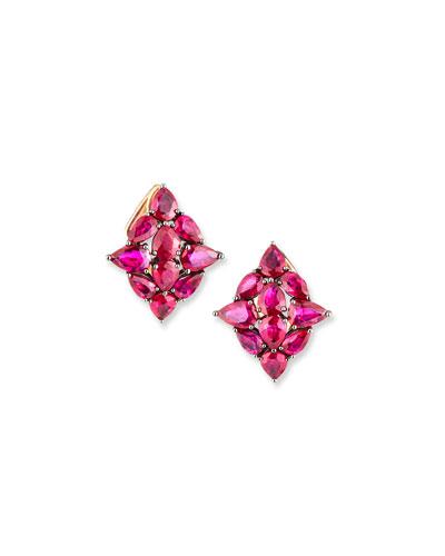 18k Rose Gold Ruby Leaf Earrings