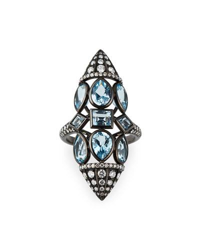 18k Blue Topaz & Diamond Ring  Size 6.25
