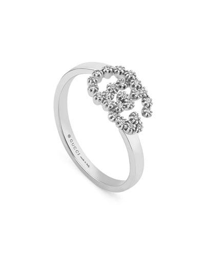 GG Running 18k White Gold Diamond Ring  Size 6.75