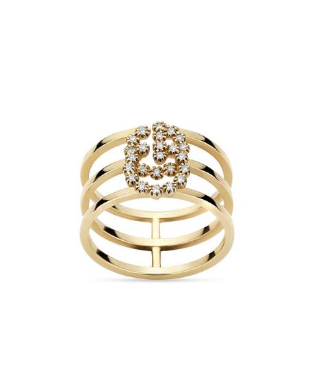 Gucci GG Running 18k Gold Diamond Multi-Row Ring, Size 6.75