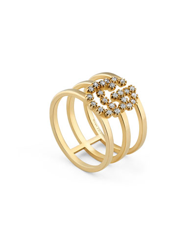GG Running 18k Gold Diamond Multi-Row Ring  Size 6.75