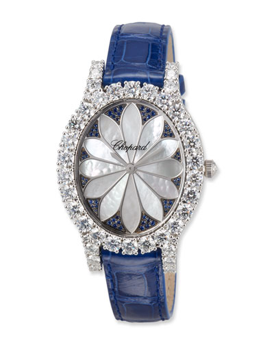 18k White Gold Oval Diamond & Blue Sapphire Watch w/ Alligator Strap