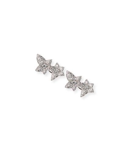 Lierre de Paris 18k White Gold Diamond Ivy Stud Earrings