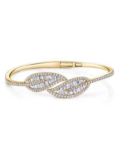 18k Hinged Diamond Leaf Bracelet