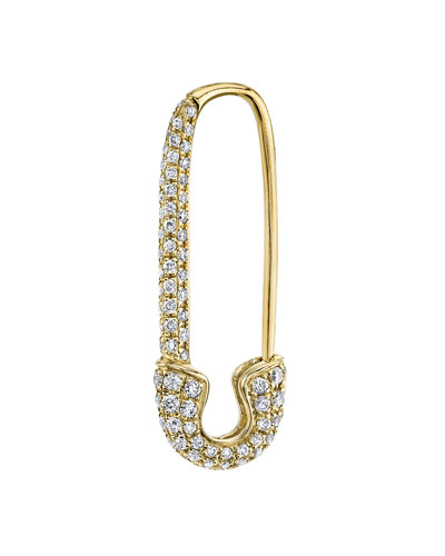 18k Gold Diamond Safety Pin Earring (Single)