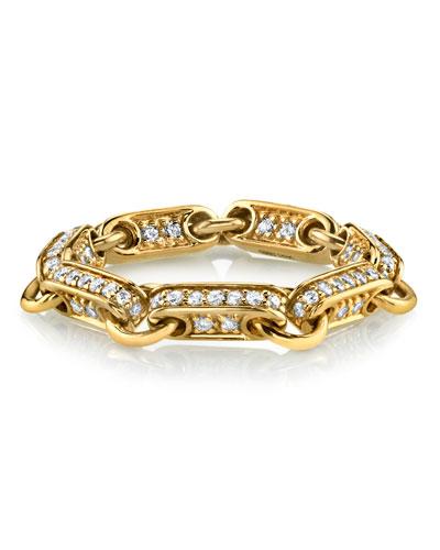 14k Diamond Rectangular-Link Ring  Size 6.5