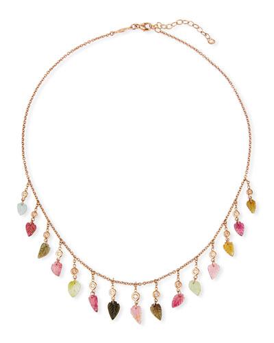 14k Rose Gold Multicolor Tourmaline & Diamond Shaker Necklace