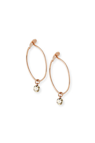 Nicha Jewelry 14k Rose Gold Floating Diamond Hoop Earrings