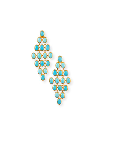 24k Turquoise Trellis Earrings  7x5mm