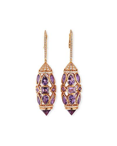 18k Rose Gold Amethyst & Diamond Drop Earrings