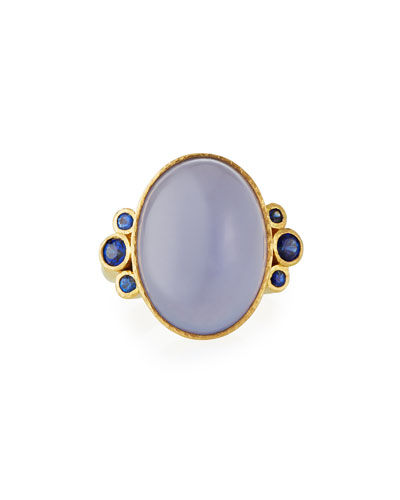 19k Blue Chalcedony & Sapphire Ring
