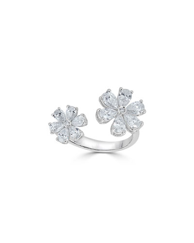 Luminal 18k White Gold Diamond 2-Flower Ring  Size 5.5