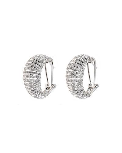 Classic Chic 18k White Gold Diamond Huggie Earrings