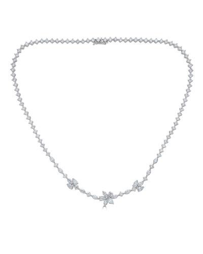 Luminal 18k White Gold Mixed-Cut Diamond Necklace