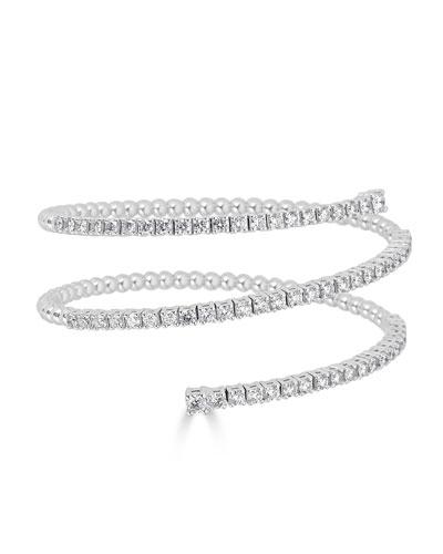 Spiral 18k White Gold Diamond Bracelet