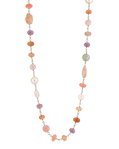 Beaded Wire Wrap Necklace w/ Diamond Bead & Pearls  Pink
