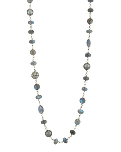 Beaded Wire Wrap Necklace w/ Diamond Bead & Pearls  Blue