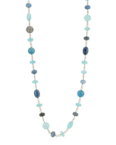 Beaded Wire Wrap Necklace w/ Diamond Bead  Blue