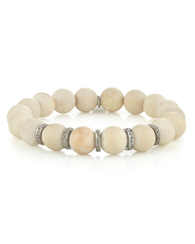 10mm White Coral & Diamond 5-Rondelle Bracelet