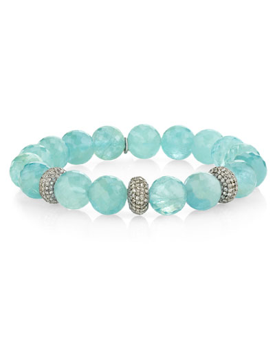 10mm Aquamarine & 3-Donut Diamond Bracelet