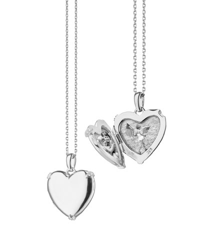Sterling Silver Heart Locket Necklace w/ White Sapphire Accents