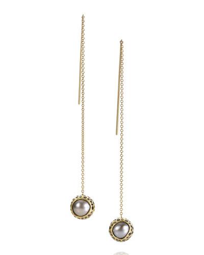 18k Black Diamond & Tahitian Pearl Earrings