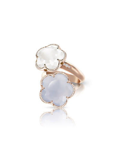 Bon Ton 18k Rose Gold Chalcedony & Quartz Ring  Size 7